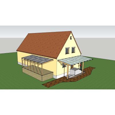 Vordächer über einer Terrasse und einem Hauseingang.